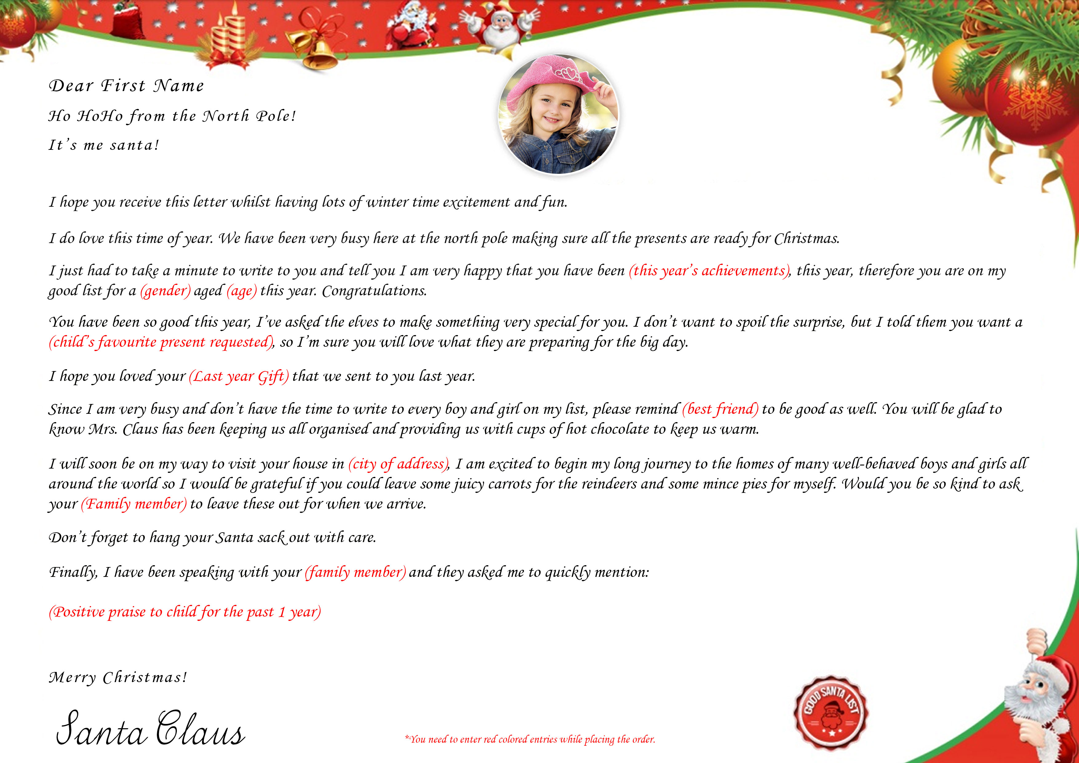 santa personalize letter from santa claus